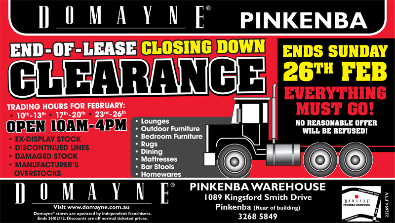 bmag advises Domayne Clearance Warehouse @ Pinkenba is Closing Down